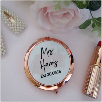 Personalised MRS EST Rose Gold Round Pocket Mirror