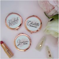 Personalised Bridal Party Rose Gold Round Pocket Mirror
