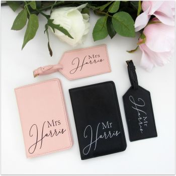 Personalised MR & MRS Luxury Travel Accessories Set
