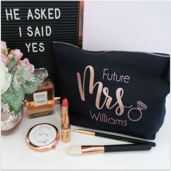 "Personalised ""Future MRS...."" Cotton Cosmetic Make Up Bag with Ring"