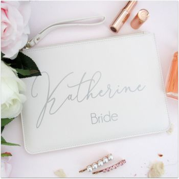 Personalised Leather Look Bride Clutch Bag With Metal Zip & Strap