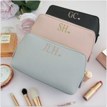 Personalised Leather Look Initial & Heart Make Up Bag