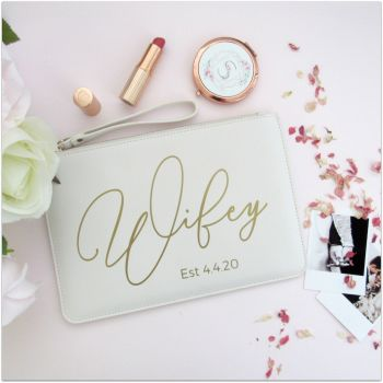 Personalised Leather Look WIFEY Clutch Bag With Metal Zip & Strap