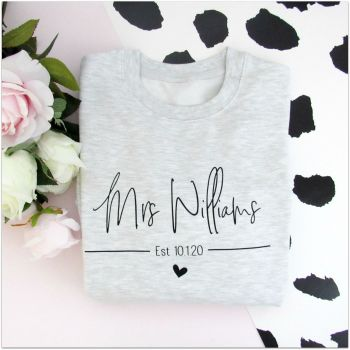 """Mrs Est"" Personalised Wedding Sweatshirt Jumper"