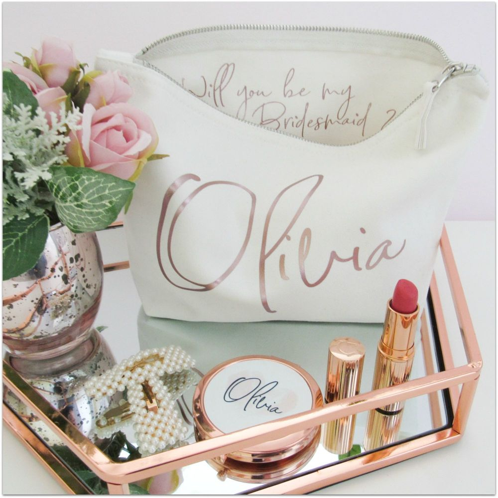 Personalised Bridesmaid or Maid of Honour Proposal Cotton Cosmetic Make Up