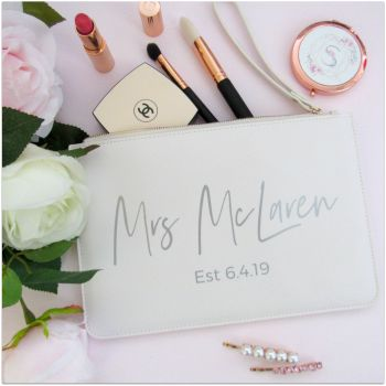 Personalised Leather Look MRS EST Clutch Bag With Metal Zip & Strap