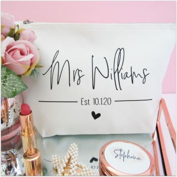 Personalised MRS EST Cotton Cosmetic Make Up Bag With Heart