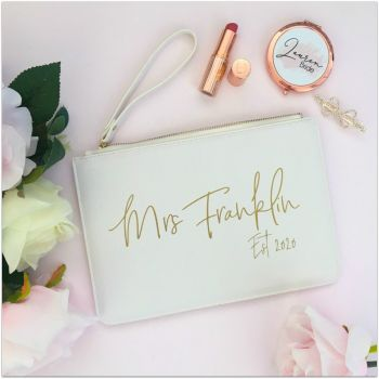 Personalised Leather Look MRS EST Bag Clutch With Metal Zip & Strap Perfect For The Bride