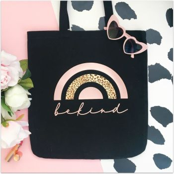 Large Be Kind Leopard Rainbow Shopper Tote Bag