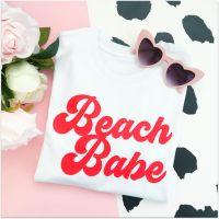"<!-- 020 -->""Beach Babe"" Women's Slogan Organic Cotton Short Sleeve Tee"