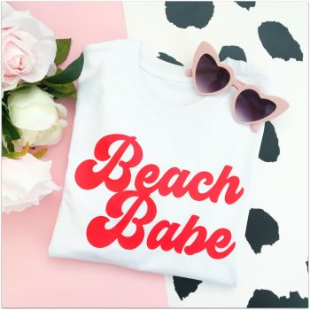 """Beach Babe"" Women's Slogan Organic Cotton Short Sleeve Tee"