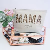Personalised MAMA EST Cotton Cosmetic Make Up Bag