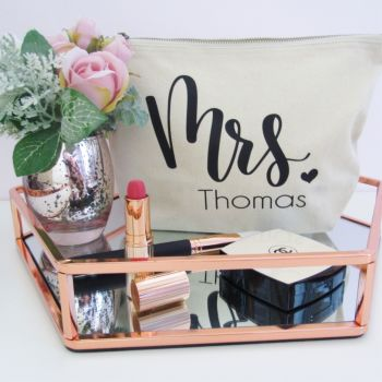 "Personalised ""MRS...."" Cotton Cosmetic Make Up Bag with heart"