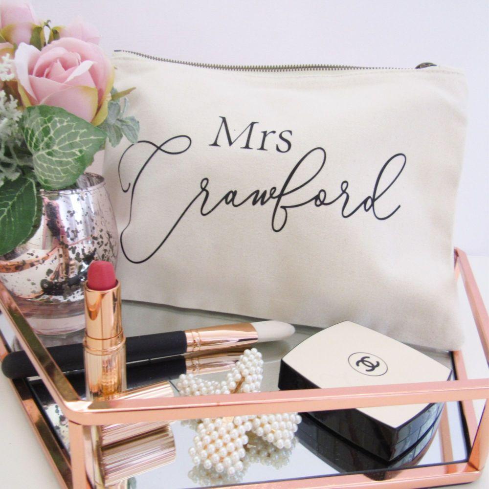 Personalised MRS Cream & Black Large Cotton Cosmetic Make Up Bag