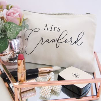 Personalised MRS Cream & Black Large Cotton Cosmetic Make Up Bag