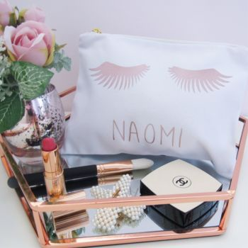 Personalised white & Rose Gold eyelash 100% cotton make up cosmetic purse