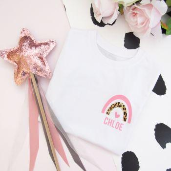 Personalised Leopard Print Rainbow Girl's Organic Cotton Short Sleeve Tee