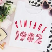 <!-- 005 -->Vintage Year Women's Slogan Organic Cotton Short Sleeve Tee