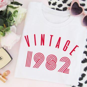 Vintage Year Women's Slogan Organic Cotton Short Sleeve Tee