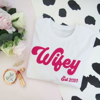 Wifey Est Women's Slogan Organic Cotton Short Sleeve Tee