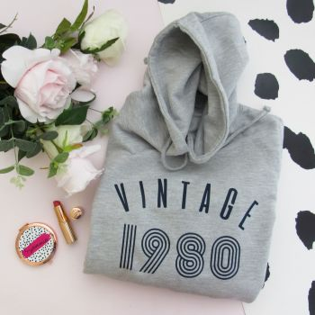 Vintage Year Women's Slogan Hooded Sweatshirt