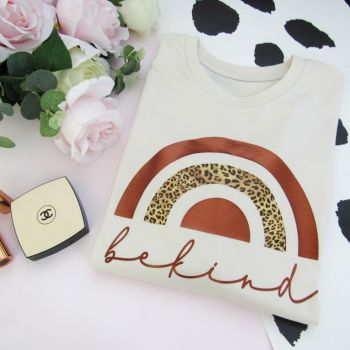 """Be Kind With Leopard Print Rainbow"" Slogan Organic Cotton Short Sleeve Tee..New Colour"