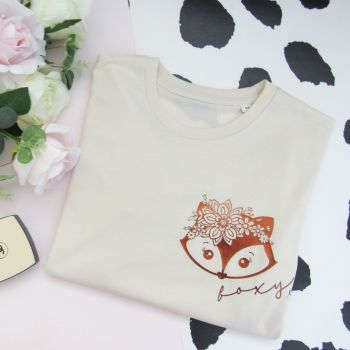 "Cute ""Foxy"" Organic Cotton Short Sleeve Tee"