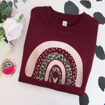 Dotty & Leopard Rose Gold Rainbow Women's Dark Colours Sweatshirt Jumper