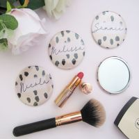 <!-- 002 -->Personalised Animal print Large 7cm Pocket Mirror