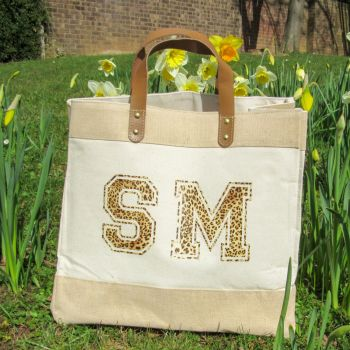"""""""Initials"""" Large Luxury Jute & Canvas Shopping Tote Bag"""