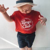 "<!-- 001 -->""Boys Club"" Slogan Organic Cotton Short Sleeve Tee"