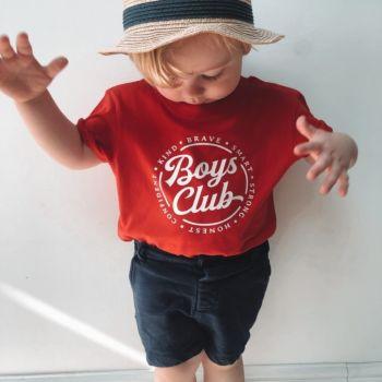 """Boys Club"" Slogan Organic Cotton Short Sleeve Tee"