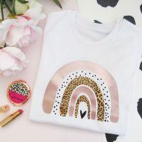 <!-- 002-->Rose Gold Dotty & Leopard Print Rainbow Women's Organic Cotton Short Sleeve Tee