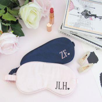 Personalised Initial & Heart Satin Sleep Eye Mask