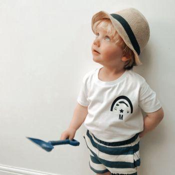 Personalised Camouflage Rainbow Boy's Organic Cotton Short Sleeve Tee