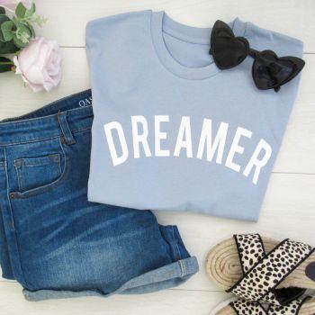 """Dreamer"" Women's Slogan Organic Cotton Short Sleeve Tee"