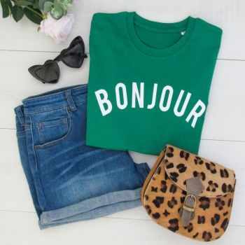 """Bonjour"" Women's Slogan Organic Cotton Short Sleeve Tee"