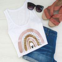 "<!-- 002 -->""Dotty & leopard Print Rainbow"" Women's Organic Cotton Vest Top"