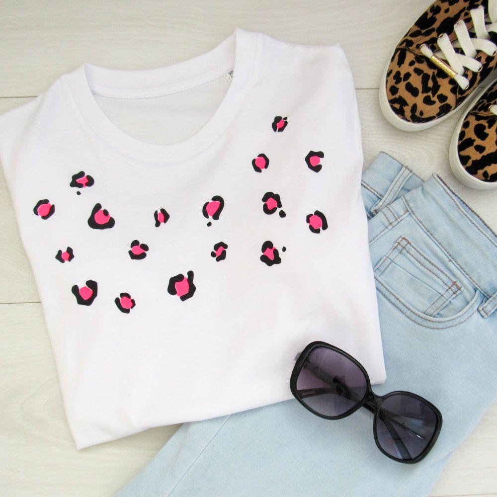 <!-- 001 --> Neon Pink Leopard  Women's Organic Cotton Short Sleeve Tee