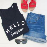 "<!-- 002 --> ""Hello Sunshine"" Women's Organic Cotton Vest Top"