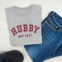 <!-- 001 --> HUBBY EST Varsity Font Men's Organic Cotton Short Sleeve Tee