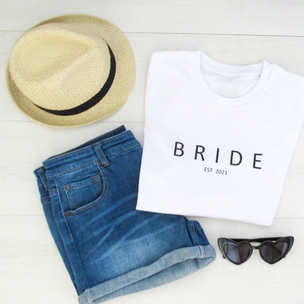 <!-- 001 --> Bride Est Personalised Women's Organic Cotton Short Sleeve Te
