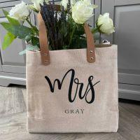 """<!-- 001 -->""""MRS.."""" Large Personalised Luxury Jute Canvas Shopping Bag"""