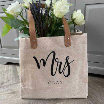 """""""MRS.."""" Large Personalised Luxury Jute Canvas Shopping Bag"""