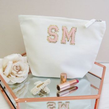 Personalised Initials Glitter & Chenille Letter Patch Cotton Cosmetic Make Up Bag