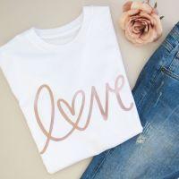 """<!-- 001 --> """"LOVE"""" Women's Slogan Organic Unisex Cotton Short Sleeve Tee"""