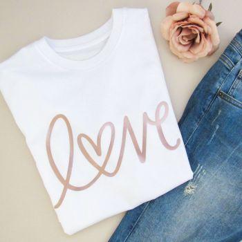"""""""LOVE"""" Women's Slogan Organic Unisex Cotton Short Sleeve Tee"""