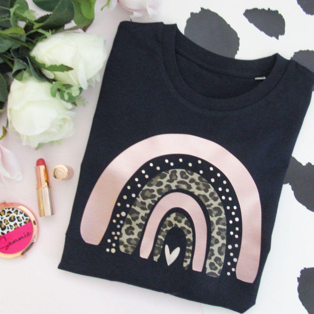 <!-- 099-->Leopard & Spot Rainbow New Women's Organic Sweatshirt.. CLEARAN