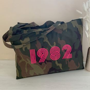 """""""Personalised Date"""" Camo Organic Cotton Canvas Shopping Bag"""