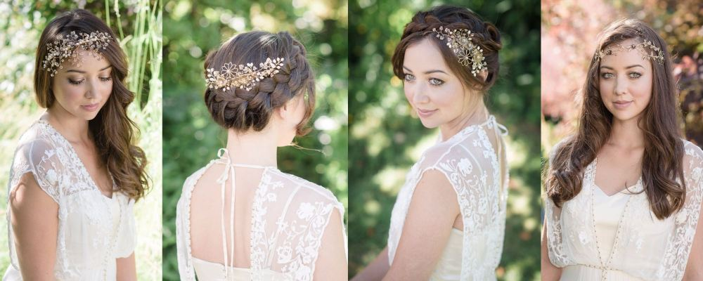 Jo Barnes golden tone bridal headdresses